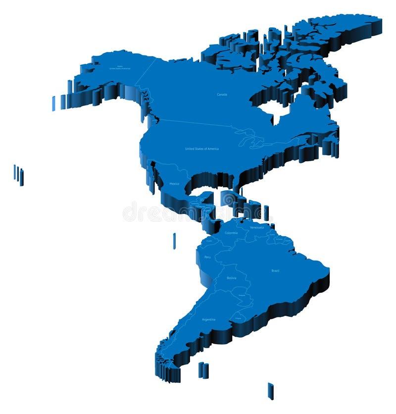 Karte 3d von Amerika stock abbildung
