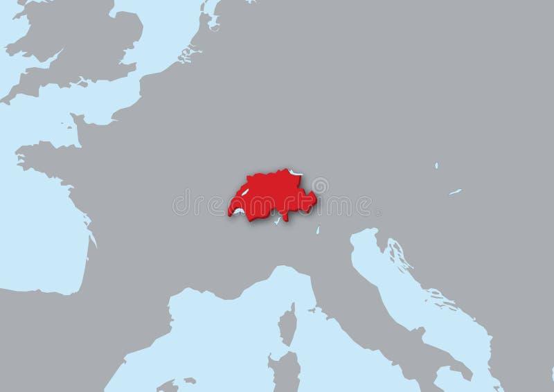 Karte 3d von der Schweiz vektor abbildung