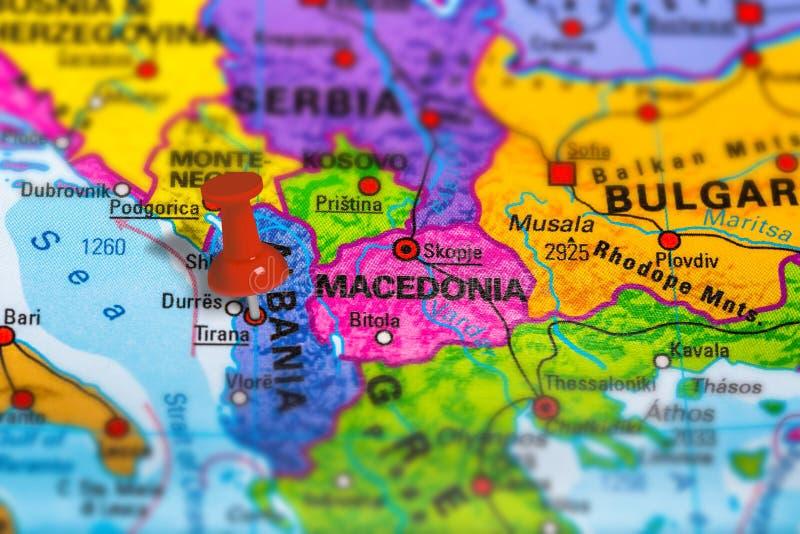 Karte Albaniens Tirana lizenzfreies stockfoto