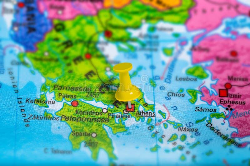 Karte Athens Griechenland lizenzfreie stockfotos