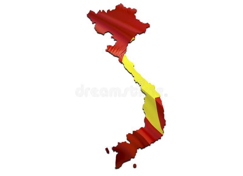 Karte auf wellenartig bewegender Flagge Vietnams 3D, das Vietnam-Karte überträgt und Flagge auf Asien-Karte wellenartig bewegt Da lizenzfreie abbildung
