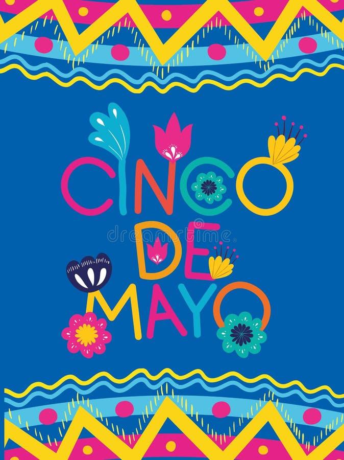 Karte Cinco Des Mayo mit Blumen- und Beschaffenheitsrahmen vektor abbildung
