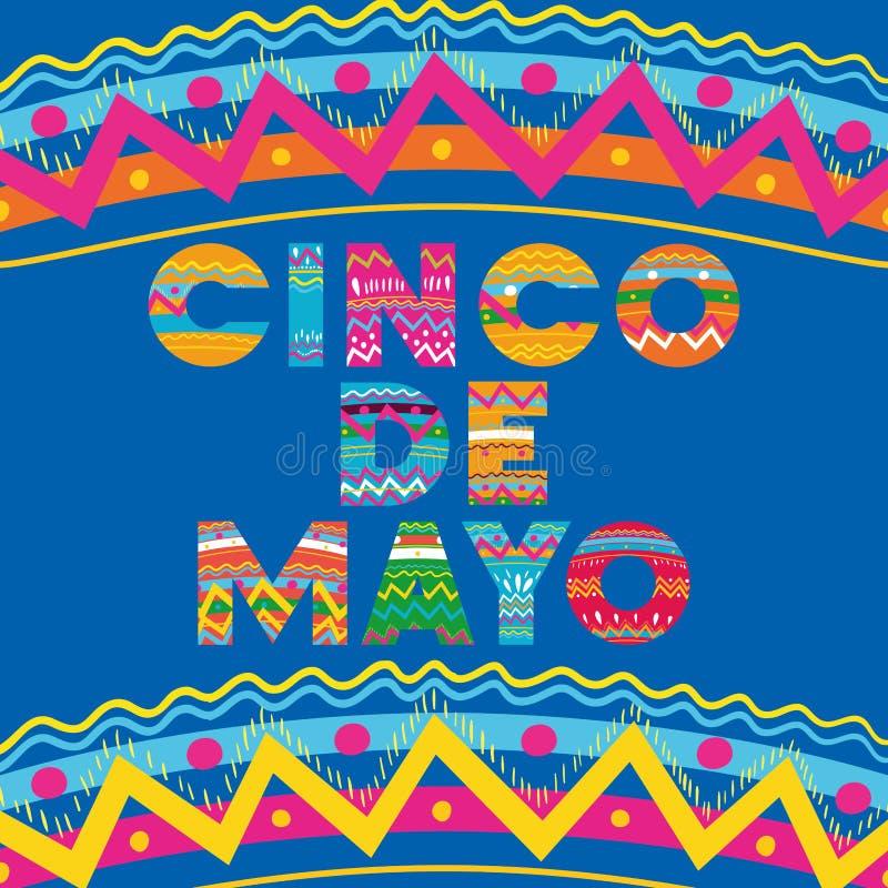 Karte Cinco Des Mayo mit Blumen- und Beschaffenheitsrahmen stock abbildung