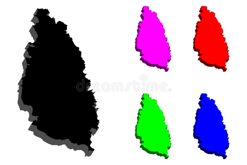 Karte 3D der St. Lucia lizenzfreie abbildung