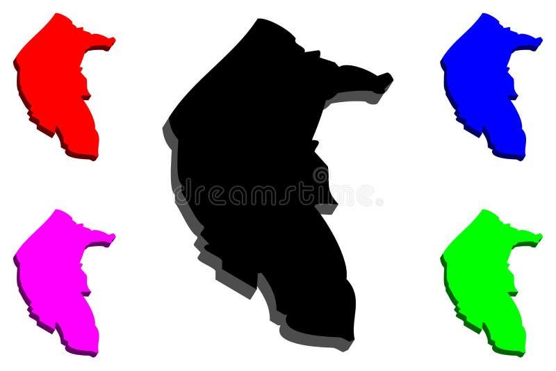 Karte 3D des australische Hauptstadt-Gebiets stock abbildung