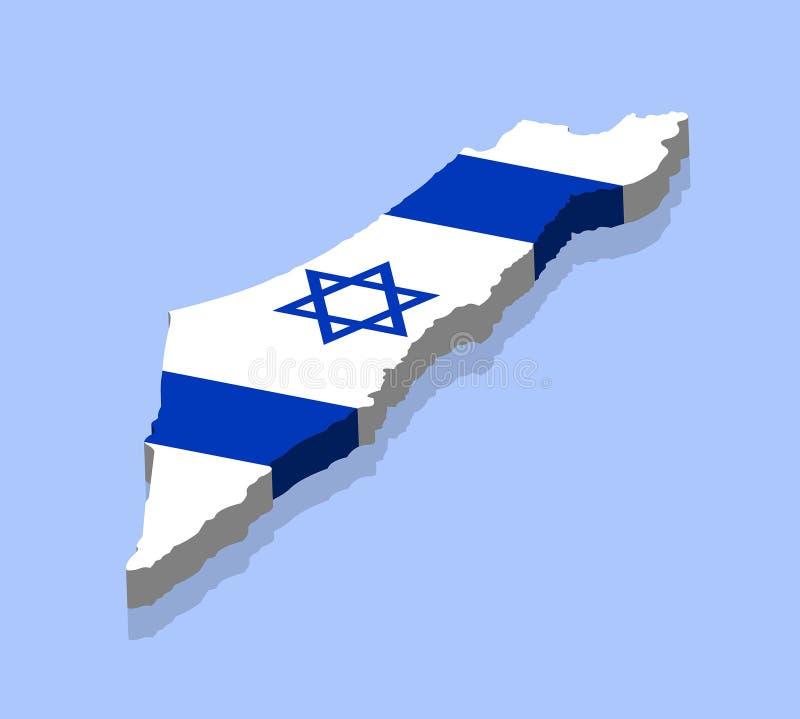 Karte 3D von Israel mit israelischer Flagge stock abbildung
