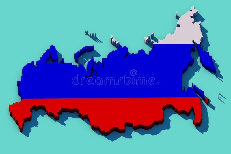 Karte 3D von Russland lizenzfreies stockbild