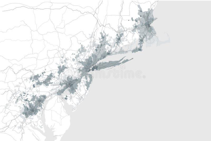 Karte Der Agglomeration Washington New York City Philadelphia