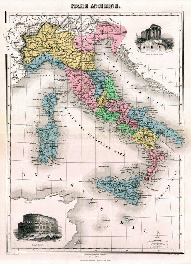 Karte der Antike-1870 von altem Italien lizenzfreie abbildung