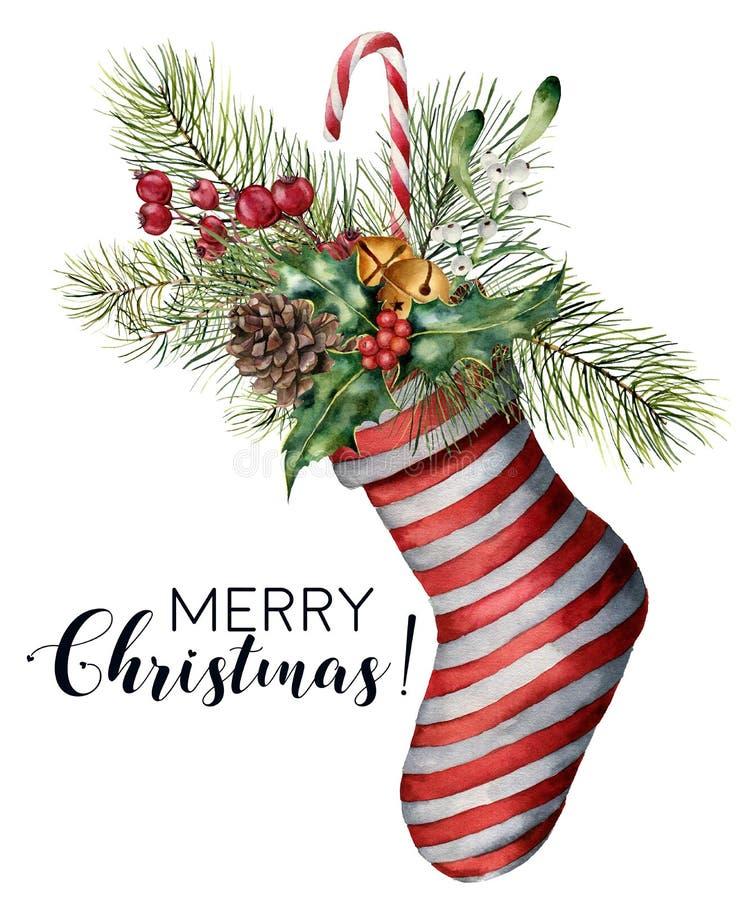Karte der Aquarell-frohen Weihnachten mit Dekor Handgemaltes Weihnachten streifte Socke mit Tannenzweig, Kiefernkegel, Stechpalme stock abbildung