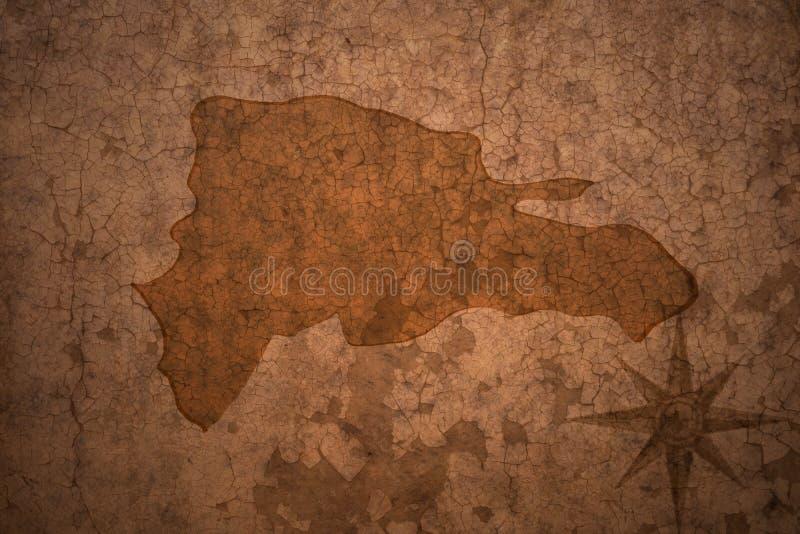 Karte der Dominikanischen Republik auf einem alten Weinlesepapierhintergrund stock abbildung