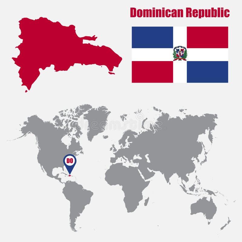 Karte der Dominikanischen Republik auf einer Weltkarte mit Flaggen- und Kartenzeiger Auch im corel abgehobenen Betrag lizenzfreie abbildung