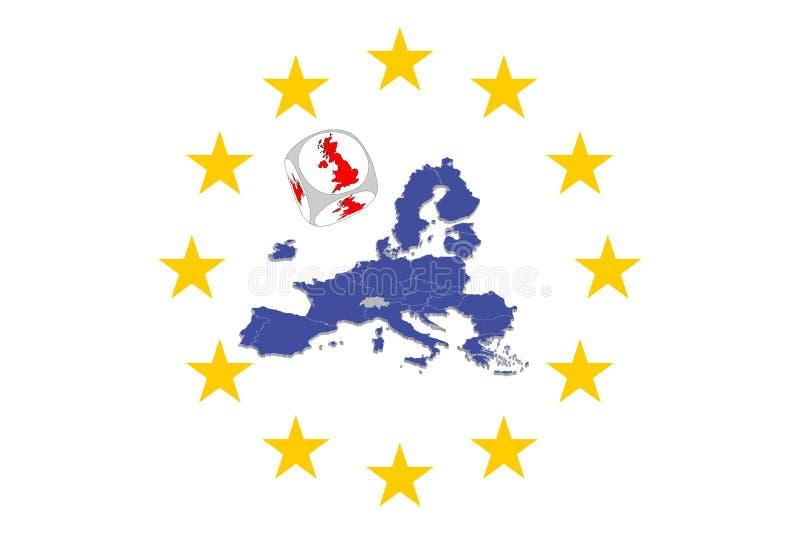 Karte der Europäischen Gemeinschaft mit Brexit-Würfel stock abbildung
