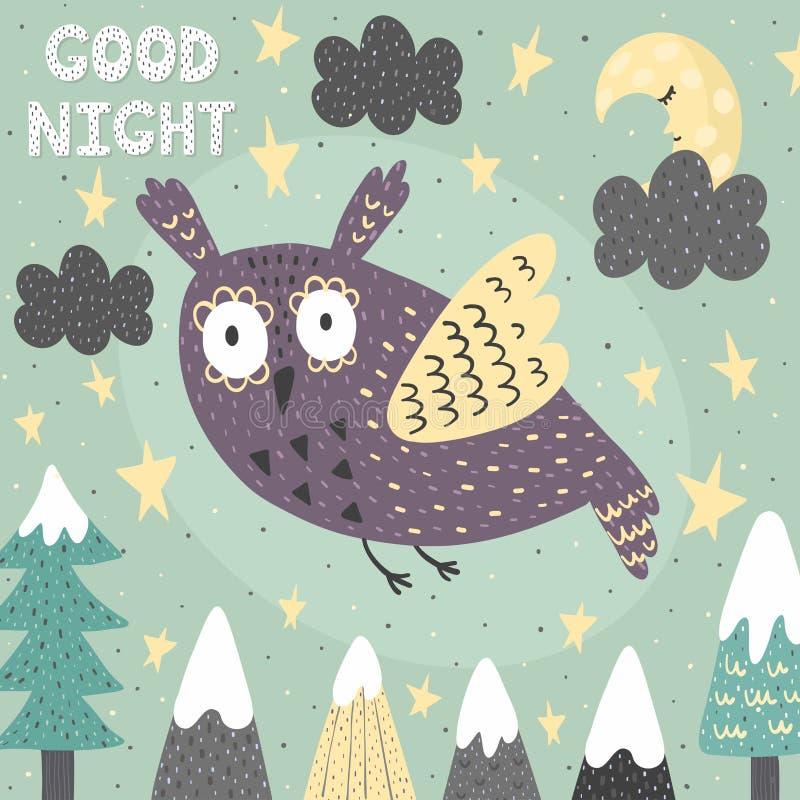 Karte der Fantasie gute Nachtmit einer netten Eule Magischer Nachthintergrund lizenzfreie abbildung