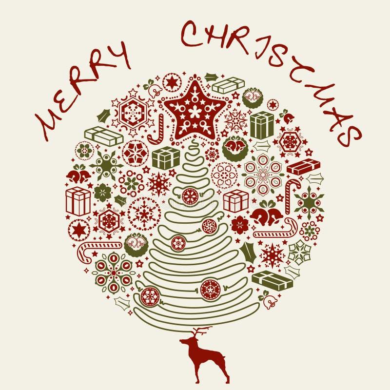 Karte der frohen Weihnachten vektor abbildung