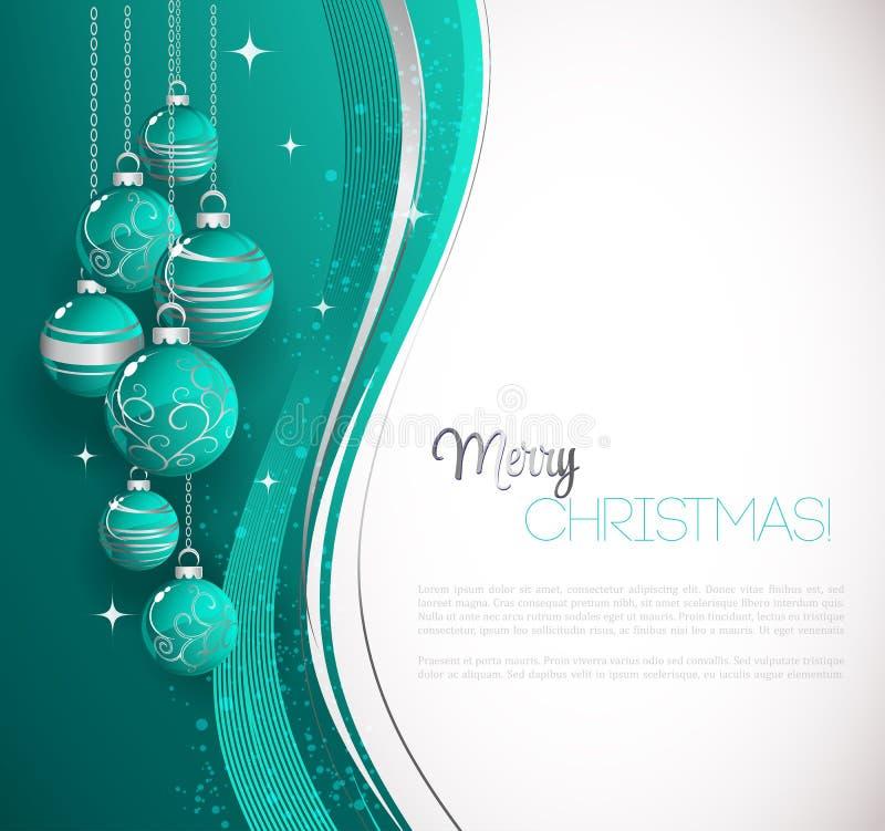Karte der frohen Weihnachten mit blauem Flitter stock abbildung