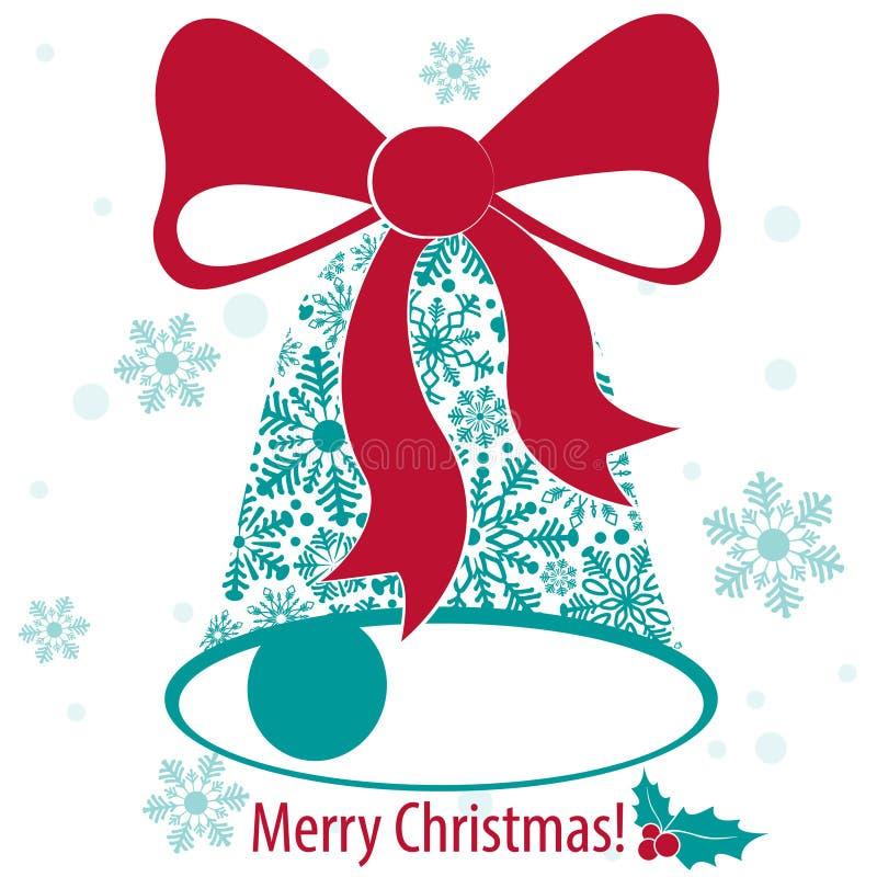 Karte der frohen Weihnachten mit Glocke von der Schneeflocke vektor abbildung