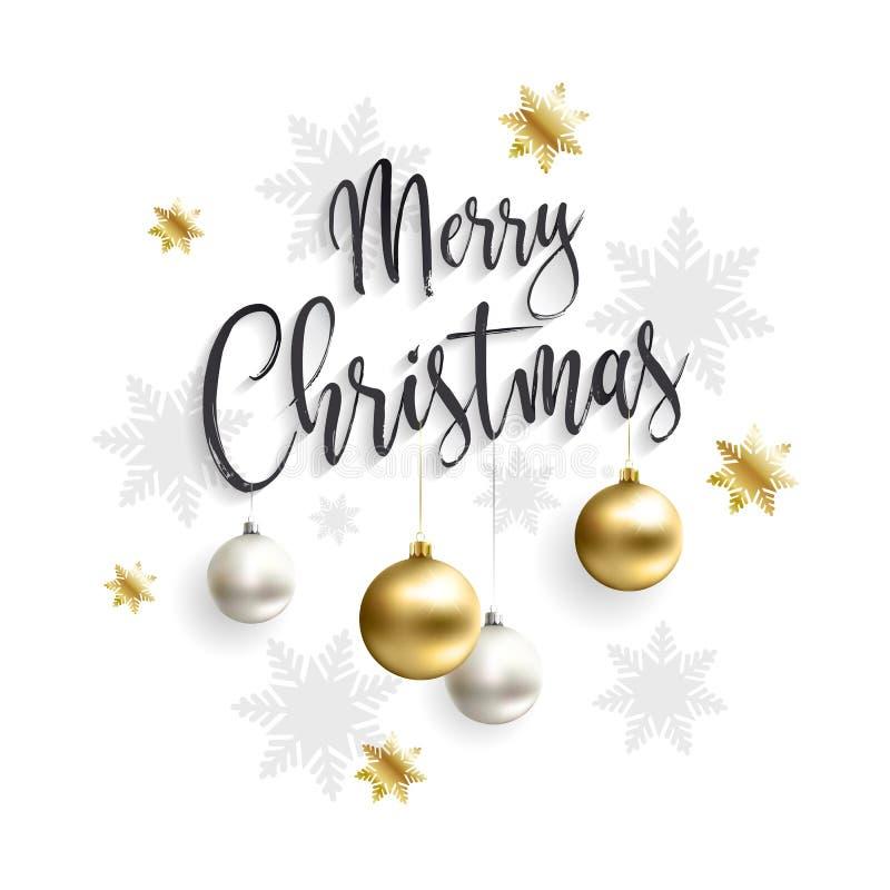 Karte der frohen Weihnachten mit Goldkugeln lizenzfreie abbildung