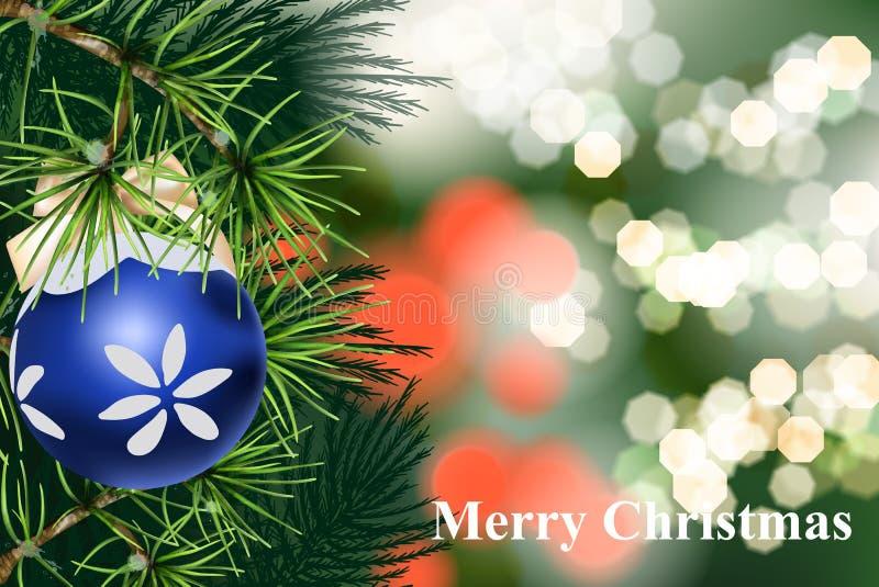 Karte der frohen Weihnachten mit Tannenzweig und Weihnachtsball Vektor realistisch Weicher bokeh loghts Hintergrund produkt stock abbildung