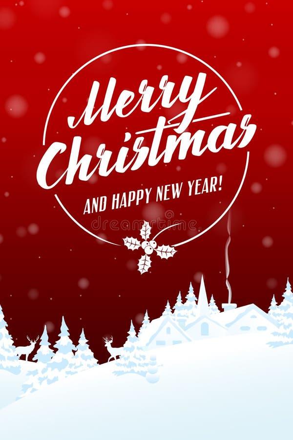 Karte der frohen Weihnachten und des guten Rutsch ins Neue Jahr stock abbildung