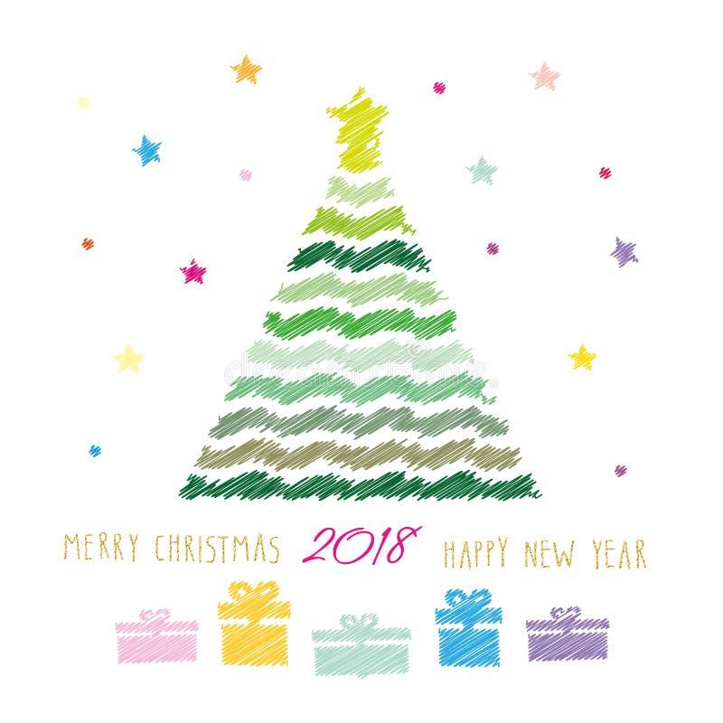Karte der frohen Weihnachten und des guten Rutsch ins Neue Jahr 2018 Farbbleistiftzeichnung Skizzendesign stock abbildung