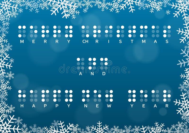 Karte der frohen Weihnachten und des guten Rutsch ins Neue Jahr mit Blindenschrift-Gruß vektor abbildung
