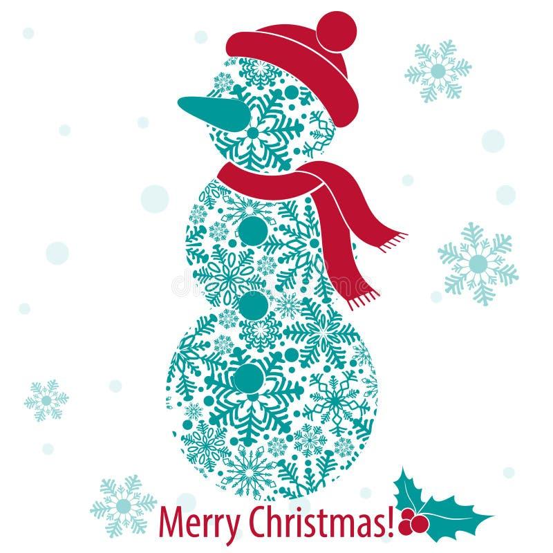 Karte der frohen Weihnachten und des guten Rutsch ins Neue Jahr mit Schneemann von den Schneeflocken lizenzfreie abbildung