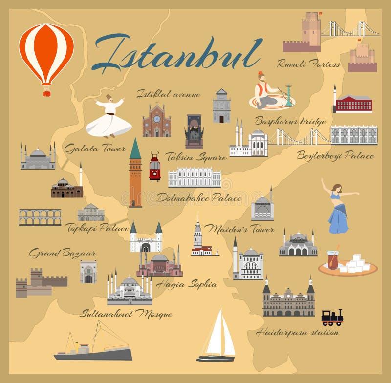 Karte der historischen Mitte von Istanbul lizenzfreie abbildung