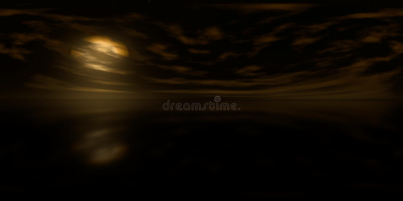 Karte der hohen Auflösung HDRI: Umweltkarte für equirectangular Projektion bei Sonnenaufgang, kugelförmiges Panorama, Illustratio stockfotos
