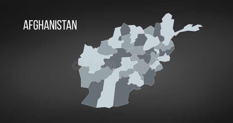 Karte der islamischen Republik von Afghanistan mit den Provinzen in den verschiedenen Farben Vektorillustration lokalisiert auf S stock abbildung