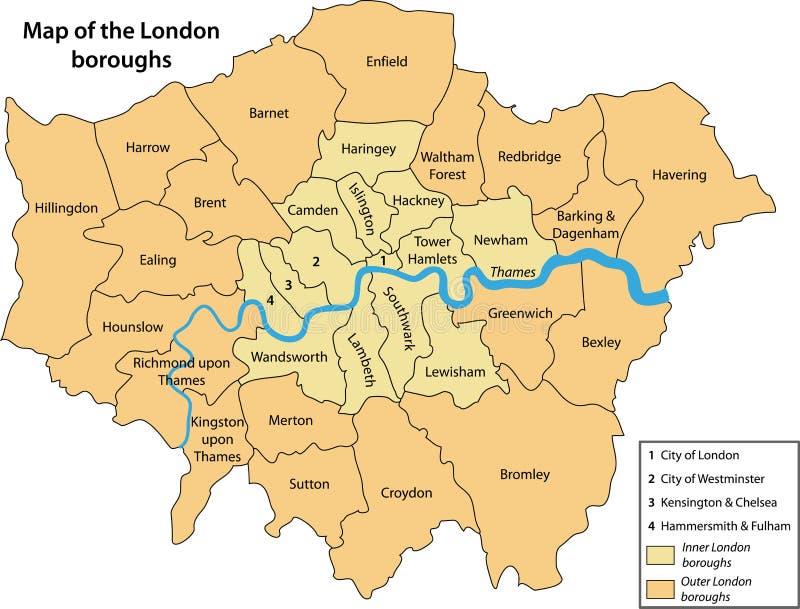 Karte der London-Städte lizenzfreie abbildung