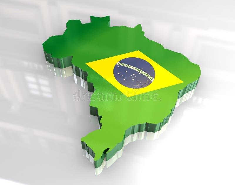 Karte der Markierungsfahne 3d von Brasilien lizenzfreie abbildung