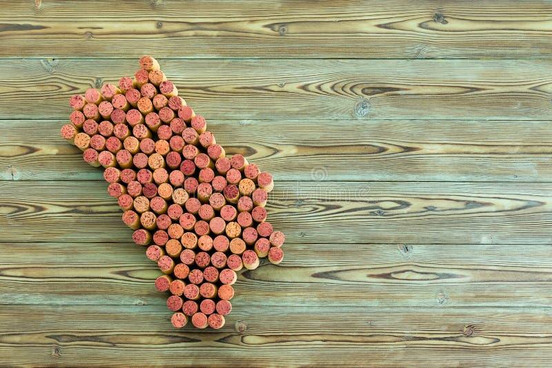 Karte der Napa- Valleyweinregion bildete sich von den Korken stockfotografie