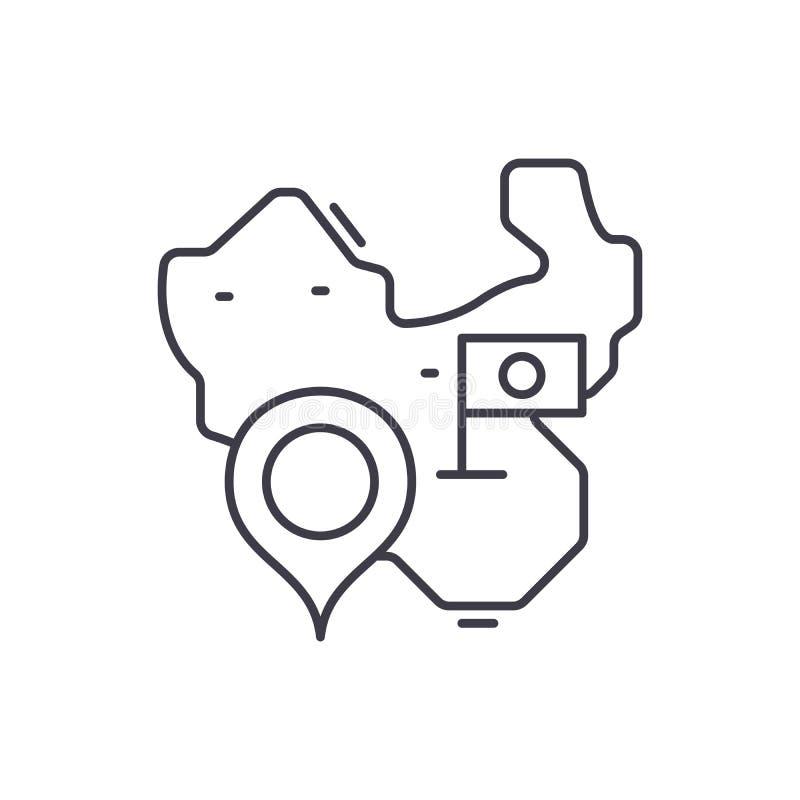 Karte der Porzellanlinie Ikonenkonzept Karte der linearen Illustration des Porzellanvektors, Symbol, Zeichen vektor abbildung