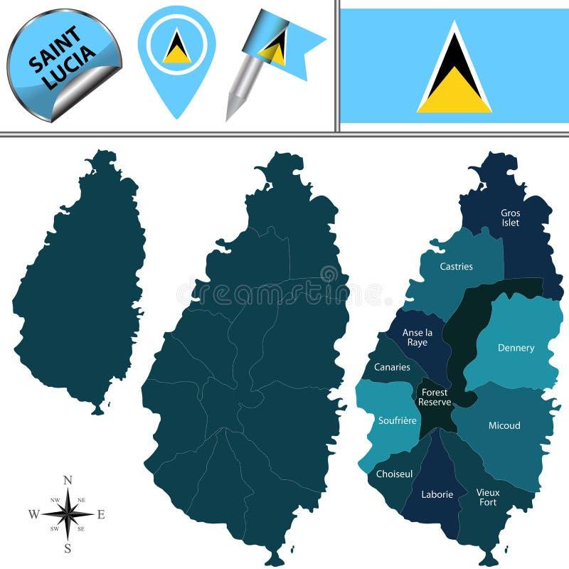 Karte der St. Lucia mit Abteilungen vektor abbildung