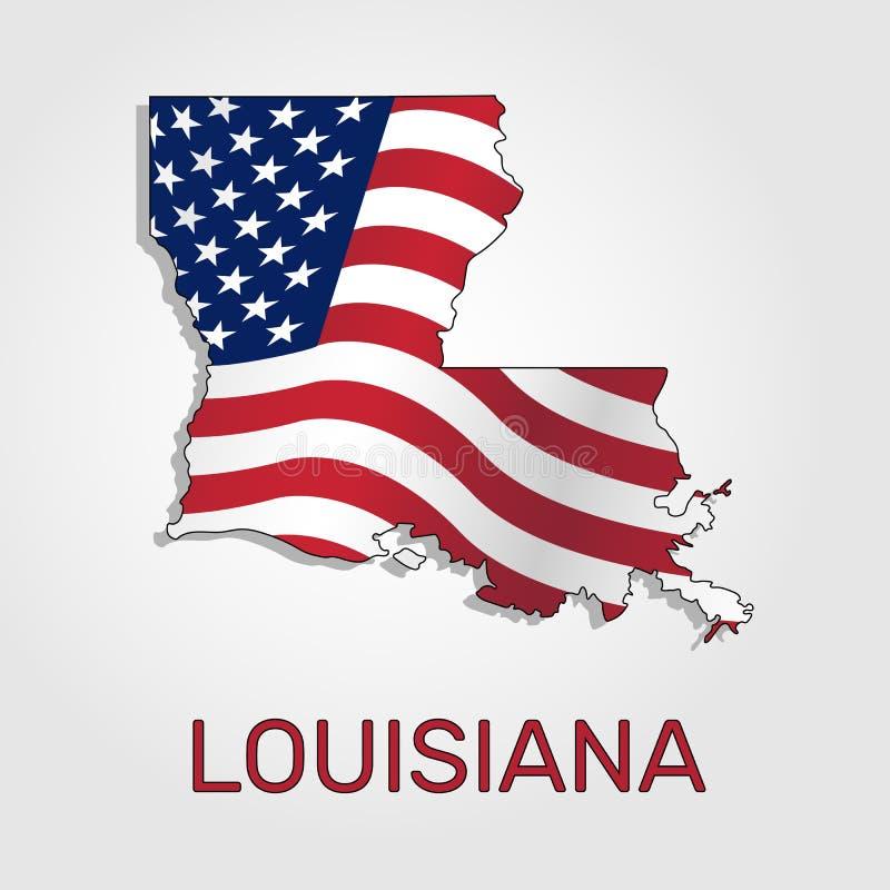 Karte Der Staat Louisiana Im Verbindung Mit A, Welches Die