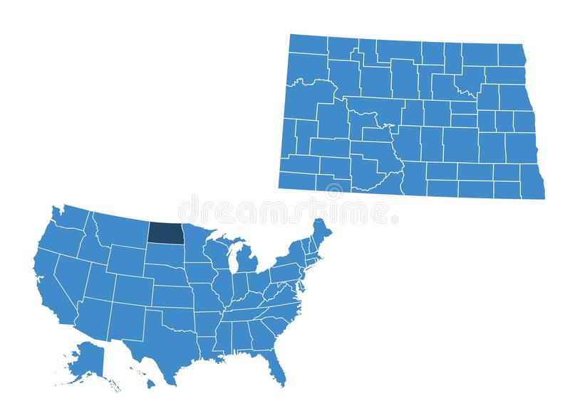 Karte der Staat North Dakota stock abbildung