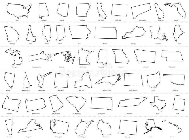 Karte der Staats-Karten-Entwurfs-Illustration der Vereinigten Staaten von Amerika USA geteilten auf weißem Hintergrund stock abbildung