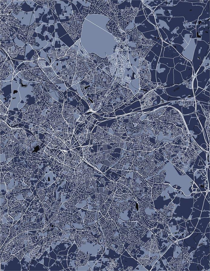 Karte der Stadt von Birmingham, Wolverhampton, englische Midlands, Vereinigtes Königreich, England stock abbildung
