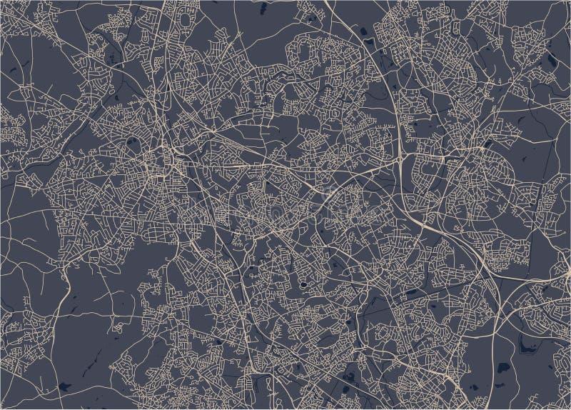 Karte der Stadt von Birmingham, Wolverhampton, englische Midlands, Vereinigtes Königreich, England stockfotografie