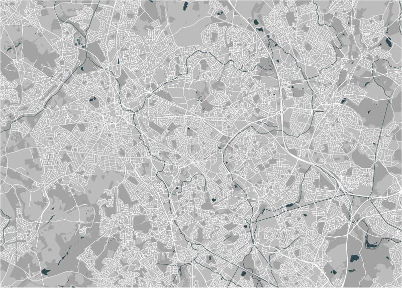 Karte der Stadt von Birmingham, Wolverhampton, englische Midlands, Vereinigtes Königreich, England lizenzfreie abbildung