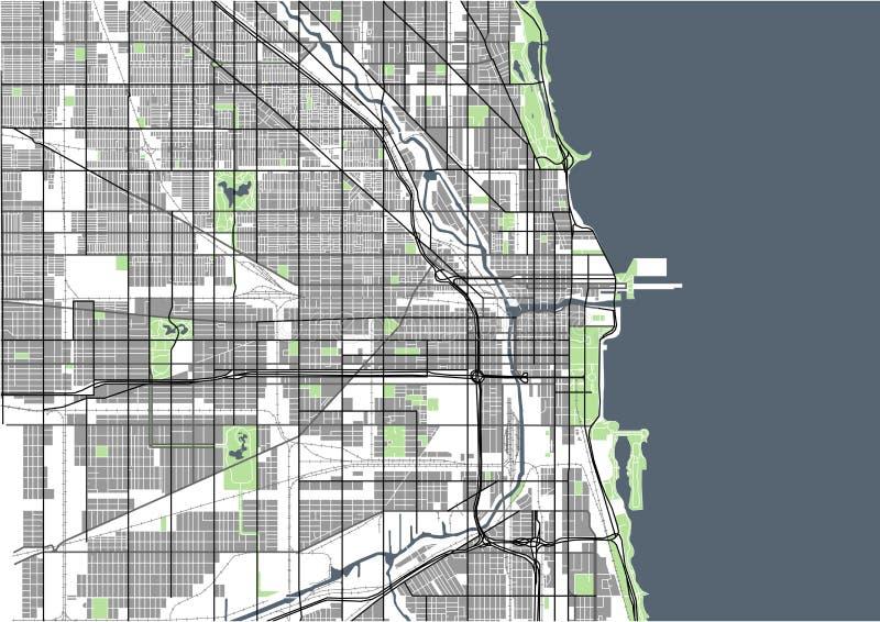 Karte der Stadt von Chicago, USA lizenzfreie abbildung