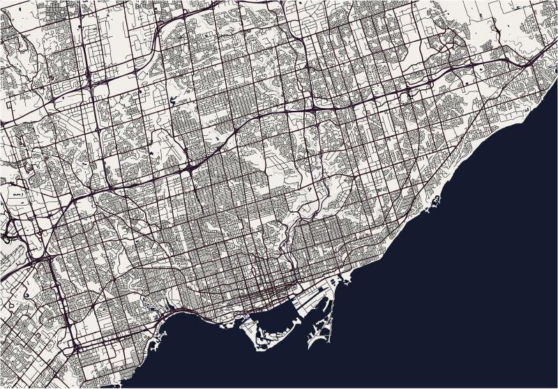Karte der Stadt von Toronto, Kanada lizenzfreie abbildung