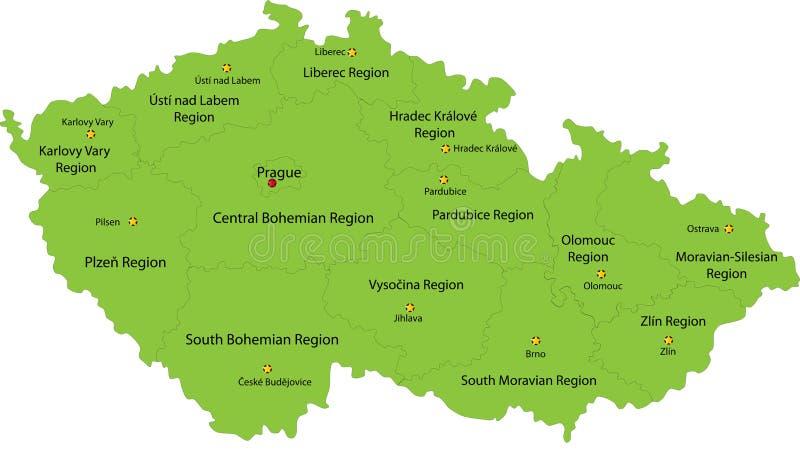 Karte der Tschechischen Republik lizenzfreie abbildung