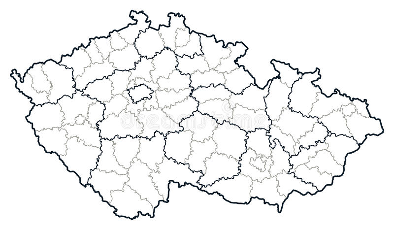 Karte der Tschechischen Republik vektor lizenzfreie abbildung