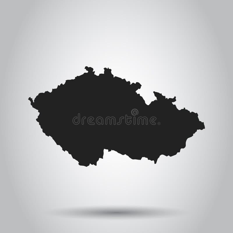 Karte der Tschechischen Republik vektor Schwarze Ikone auf weißem Hintergrund stock abbildung