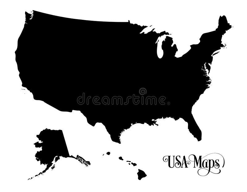 Karte der USA-Schattenbild-Illustration der Vereinigten Staaten von Amerika auf weißem Hintergrund lizenzfreie abbildung