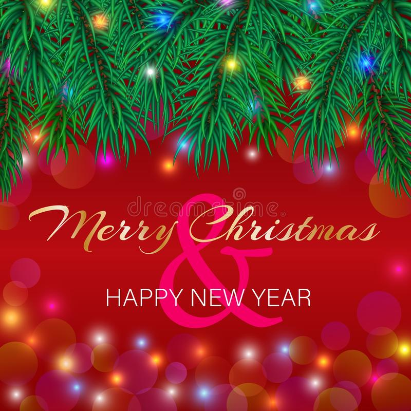 Karte der Vektor-frohen Weihnachten und des guten Rutsch ins Neue Jahr mit dem Funkeln lizenzfreie abbildung