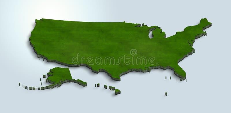 Karte der Vereinigten Staaten von Amerika ist auf einem blauen Hintergrund 3d grün stock abbildung