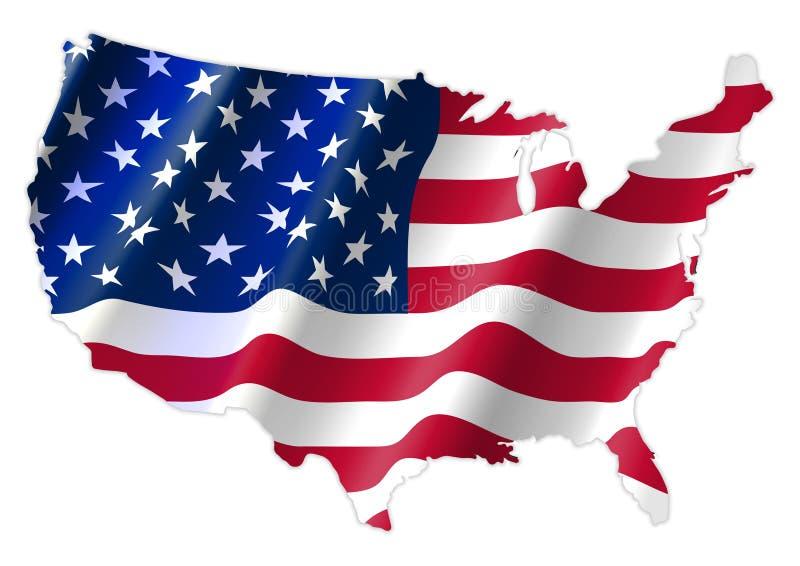 Karte der Vereinigten Staaten von Amerika mit wellenartig bewegender Flagge lizenzfreie abbildung